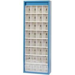 Klars.-System.-Schrank. RAL 5007, 32 Behälter