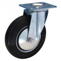 Lenkrolle 80 mm Lg. R Stahlbl verz. Gummirad