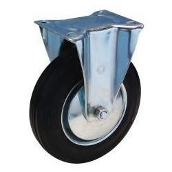 Bockrolle 80 mm Lg. Stahlbl verz. Gummirad